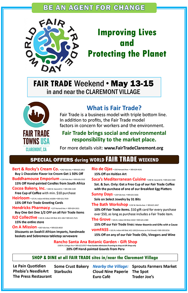 Fair Trade Weekend Claremont May 13-15 2016