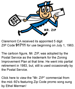 Claremont CA received its 91711 zip code ...