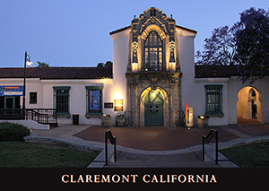 Claremont Depot at Night postcard